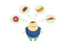 Fat guy thinks about food vector Stock Images