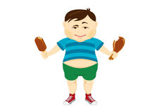 Fat guy vector. Cartoon character fat man. Fat boy on a white background Royalty Free Stock Photo