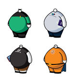 Fat Guys with Little Heads: Geeks. Four vector icons of fat geeks with little heads royalty free illustration