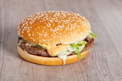 Fat hamburger sandwich Royalty Free Stock Photo