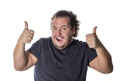 Fat happy man, pleased with himself. Proper nutrition and weight loss royalty free stock photos