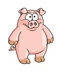 Fat happy pink cartoon pig Stock Photography
