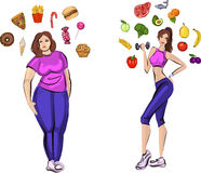 Fat and healthy woman with lifestyle symbols Royalty Free Stock Image