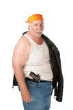 Fat hoodlum with pistol and bandana. Fat hoodlum with pistol and orange bandana Royalty Free Stock Photo