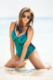 Fat hot and sexy woman in swimsuit near the sea Stock Image