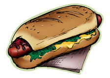 Fat Hotdog. Grungy stylized illustration of a hotdog Stock Images