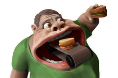 Fat hungry man eating hamburgers 3d illustration. Fat hungry man eating hamburgers with food transporter 3d illustration isolated Royalty Free Stock Image