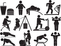Fat. Illustration - fatty man icon set Stock Image