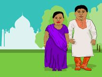 Fat Indian people -husband and wife - stand near the Taj Mahal in national costumes. Color vector cartoon image with place for text and paper space stock illustration