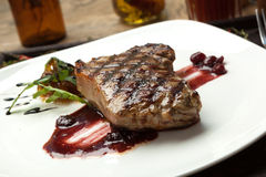 Fat, juicy steak beef thick edge, grain-fed, wet binning. Royalty Free Stock Images