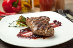 Fat, juicy steak beef thick edge, grain-fed, wet binning. Royalty Free Stock Photos