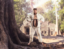 Fat karate fighter Stock Images