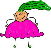 Fat kid. Happy little girl who is a little obese - toddler art series Royalty Free Stock Photo