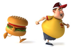 Fat kid and hamburger Royalty Free Stock Photos
