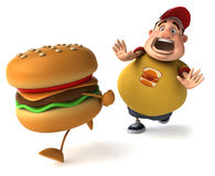 Fat kid and hamburger. Fat kid, 3d generated picture of a big teenager Royalty Free Stock Photography