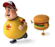 Fat kid and hamburger Stock Photo
