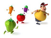Fat kid and vegetables. Fat kid, 3d generated picture of a big teenager Stock Images