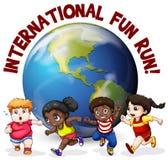 Fat kids running around the world Stock Image