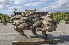 Fat Ladies im Lustgarten. Berlin, Germany -  September 8, 2015: Fat Ladies in the Lustgarten. The full of joie de vivre Chubby women by chinese performer Xu Stock Photography