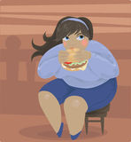 Fat lady. Fat girl eating large burger Stock Photo