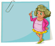 A fat lady beside an empty paper template with a paper clip Stock Image