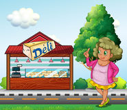 A fat lady in front of the deli store. Illustration of a fat lady in front of the deli store Stock Photo