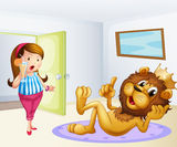 A fat lady and a lion inside a room Royalty Free Stock Image