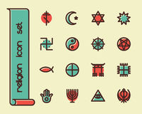 Fat Line Icons. Fat Line Icon set for web and mobile. Modern minimalistic flat design elements of world religious symbols Stock Image