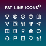 Fat Line Icons set 3 Royalty Free Stock Image