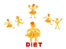Fat little orange imagines himself a dancer. And an athlete royalty free stock photos