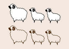 Fat and little sheep. Gang, family, cartoon cute Royalty Free Stock Photos