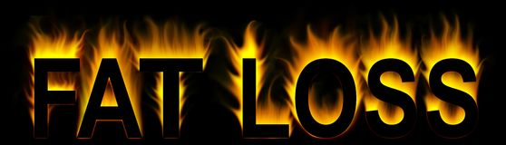 Fat loss. Word with abstract fire background Royalty Free Stock Photos