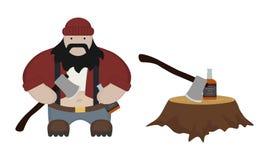 Fat lumberjack. Funny fat flat lumberjack ax stump whiskey bottle  on white Royalty Free Stock Images