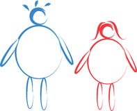 Fat male and female sketch Stock Images