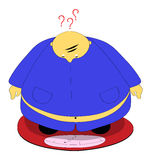 Fat man. An illustration featuring a fat man standing on a weighing machine Stock Illustration