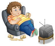 Fat man. Fat and unhealthy man watching tv Stock Photo