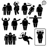 Fat Man Action Poses Postures Cliparts Royalty Free Stock Image