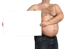 Fat man with banner Stock Photos