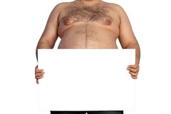 Fat man with banner Royalty Free Stock Photo