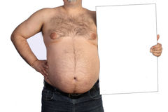Fat man with banner Stock Photography