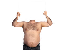 Fat man with banner Royalty Free Stock Photos