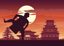 Fat man battle of Japan called Sumo. Ready to fight pose in front of palace and castle of Japanese style,silhouette design Stock Photography
