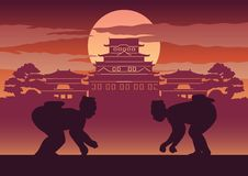 Fat man battle of Japan called Sumo. Ready to fight pose in front of palace and castle of Japanese style,silhouette design Stock Image