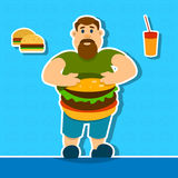 Fat Man With Big Abdomen Hamburger Junk Fast Food. Flat Vector Illustration Royalty Free Illustration