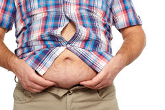 Fat man with a big belly. Diet Royalty Free Stock Photo