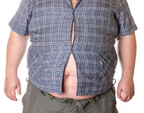 Fat man with a big belly. Close-up part of the body Royalty Free Stock Photos