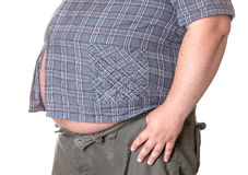 Fat man with a big belly. Close-up part of the body Royalty Free Stock Image