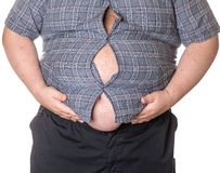 Fat man with a big belly. Close-up part of the body Stock Photo