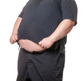 Fat man with a big belly. Close-up part of the body Royalty Free Stock Images