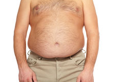 Fat man with a big belly. Royalty Free Stock Images